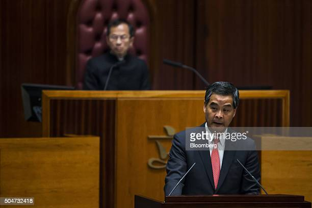 Leung Chunying Hong Kong's chief executive delivers his policy address in the chamber of the Legislative Council in Hong Kong China on Wednesday Jan...