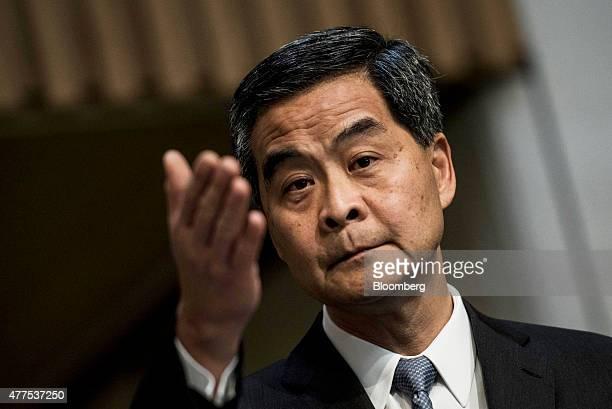 Leung Chunying Hong Kong's chief executive gestures during a news conference in Hong Kong China on Thursday June 18 2015 Hong Kong prodemocracy...