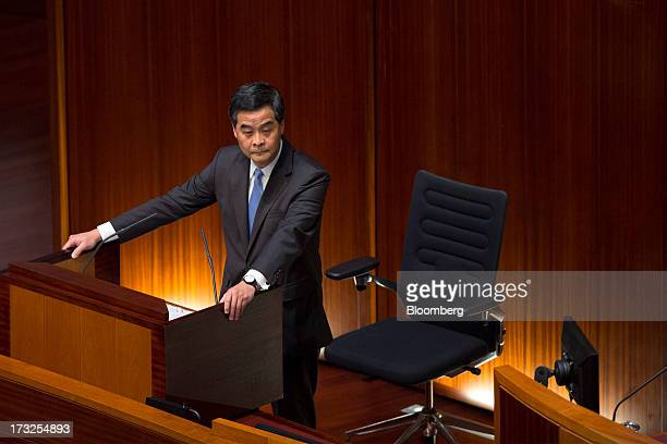 Leung Chunying Hong Kong's chief executive pauses during a question and answer session in the chamber of the Legislative Council in Hong Kong China...