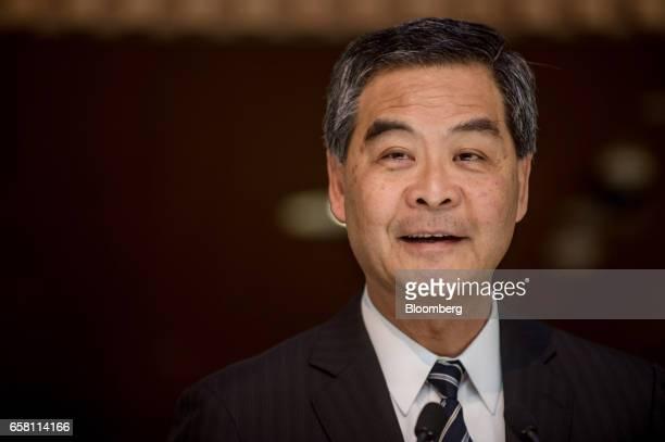 Leung Chunying Hong Kong's chief executive speaks during a news conference in Hong Kong China on Monday March 27 2017 Behindthescenes backing from...