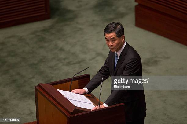 Leung Chunying Hong Kong's chief executive speaks during a policy address in the chamber of the Legislative Council in Hong Kong China on Wednesday...