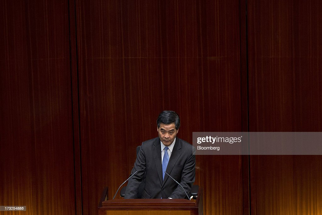Chief Executive Leung Chun-Ying Attends Q&A Session at Legco : News Photo