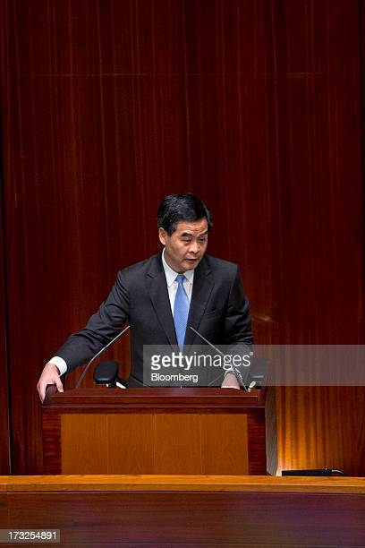 Leung Chunying Hong Kong's chief executive speaks during a question and answer session in the chamber of the Legislative Council in Hong Kong China...