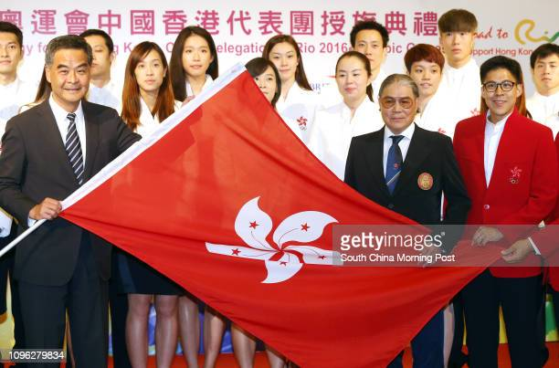 Leung Chun-ying; Timothy Fok Tsun-ting; and Kenneth Fok Kai-kong, attend the Flag presentation to the Hong Kong Delegation for the Rio Olympics in...