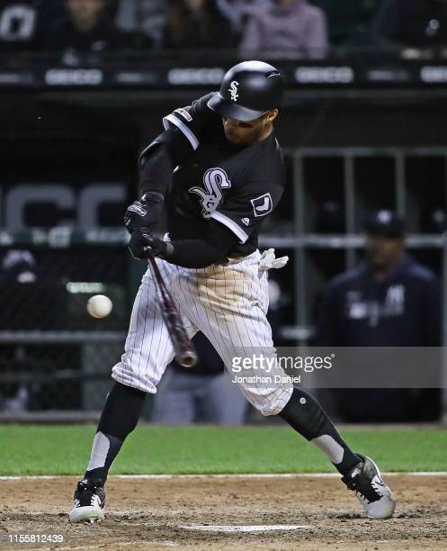 Leury Garcia of the Chicago White Sox hits a solo home run in the 7th inning against the New York Yankees at Guaranteed Rate Field on June 13, 2019...