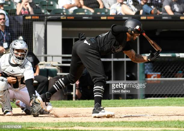 Leury Garcia of the Chicago White Sox is hit by a pitch against the Texas Rangers during the seventh inning at Guaranteed Rate Field on August 25,...