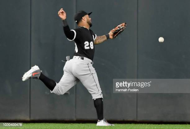 Leury Garcia of the Chicago White Sox is unable to catch a double by Mitch Garver of the Minnesota Twins during the fourth inning of the game on...