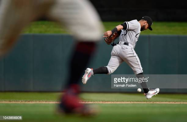Leury Garcia of the Chicago White Sox is unable to field a tworun single by Logan Forsythe of the Minnesota Twins during the fourth inning of the...