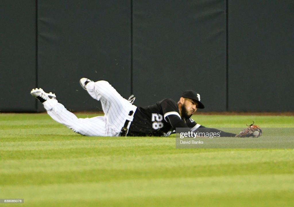 Leury Garcia #28 of the Chicago White Sox of the Chicago White Sox makes a catch on a ball off the bat of Eduardo Escobar (not picured) of the Minnesota Twins during the sixth inning on August 23, 2017 at Guaranteed Rate Field in Chicago, Illinois.