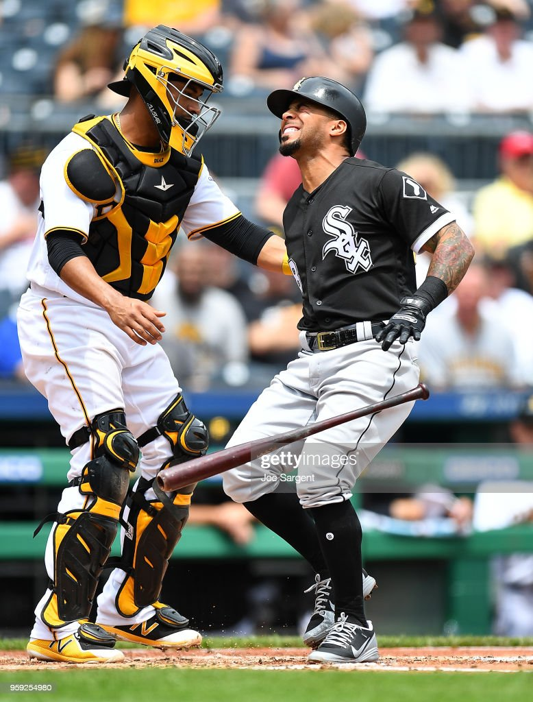 Leury Garcia #28 of the Chicago White Sox reacts after getting hit by a pitch in front of Elias Diaz #32 of the Pittsburgh Pirates in the fourth inning during inter-league play at PNC Park on May 16, 2018 in Pittsburgh, Pennsylvania.