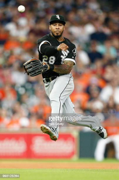 Leury Garcia of the Chicago White Sox throws out Marwin Gonzalez of the Houston Astros in the fifth inning at Minute Maid Park on July 6 2018 in...