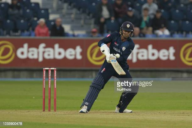Leus du Plooy of Derbyshire bats during the Vitality Blast T20 match between Durham County Cricket Club and Derbyshire County Cricket Club at...