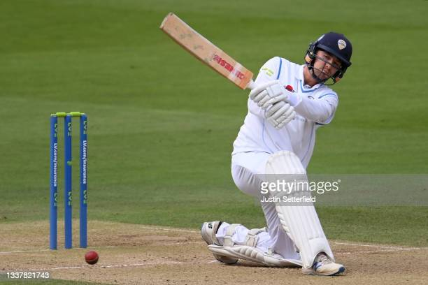 Leus du Plooy of Derbyshire plays a shot during Day four of the LV= Insurance County Championship between Middlesex and Derbyshire at Lord's Cricket...