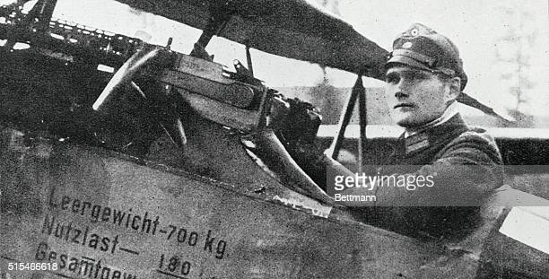 Leutnant Rudolph Hess sits in the cockpit of his Fokker DVII biplane fighter from Bayerische Jagdstaffel 35 of the Luftstreitkräfte the air arm of...