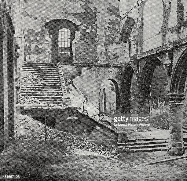 Leuven France the ruins of the hall of the library World War One France 1915
