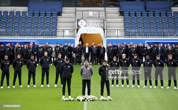 Leuven manager Nigel Pearson captain Elliott Moore and Thai national keeper Kawin Thamsatchanan lay wreaths on the centre spot as the OH Leuven...