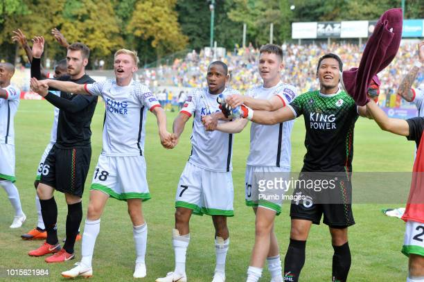 Leuven players celebrate in front of their travelling away fans after the Proximus League match between Royal Union SaintGilloise and OH Leuven at...