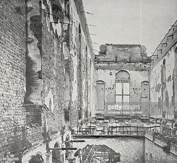 Leuven the destruction in the Great gallery of the university library, after the fire of 25 and 26 August 1915. Wold War One, France.