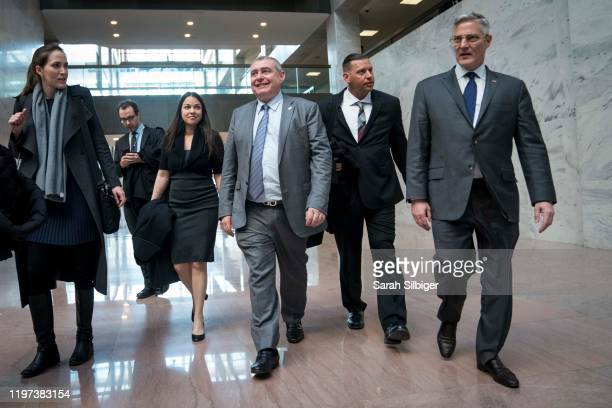 Lev Parnas, an associate of President Donald Trump's personal lawyer Rudy Giuliani, and his lawyer Joseph Bondy are seen in the Hart Senate Office...