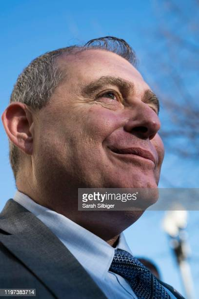 Lev Parnas, an associate of President Donald Trump's personal lawyer Rudy Giuliani, speaks to press outside of the Hart Senate Office Building after...