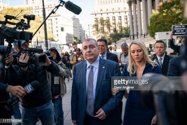 Lev Parnas arrives at federal court for an arraignment hearing on October 23 2019 in New York City Lev Parnas and Igor Fruman along with Andrey...