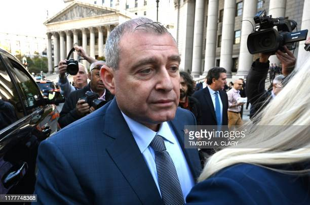 Lev Parnas leaves after his arraignment in the Southern District of New York court on October 23 2019 Parnas was arrested for campaign finance...