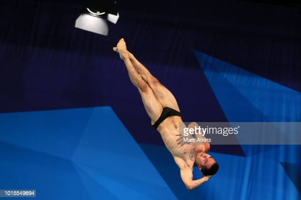 Lev Sargsyan of Armenia competes in the Men's 10m Platform Final during the diving on Day eleven of the European Championships Glasgow 2018 at Royal...