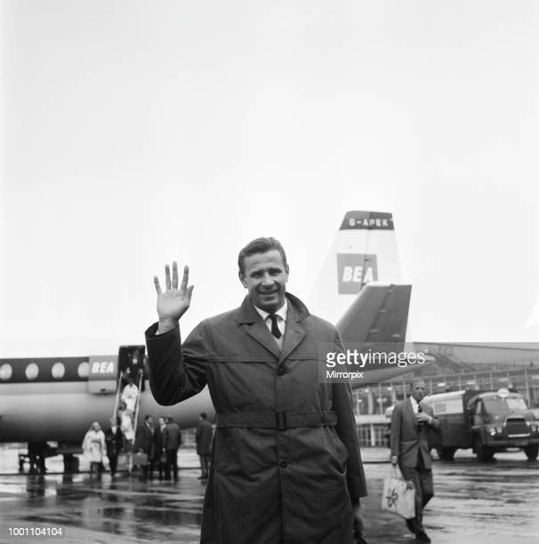 Lev Yashin, Dynamo Moscow and Soviet Union Goalkeeper arrives at Manchester Ringway Airport, he is on his way to Stoke, to take part in Sir Stanley...