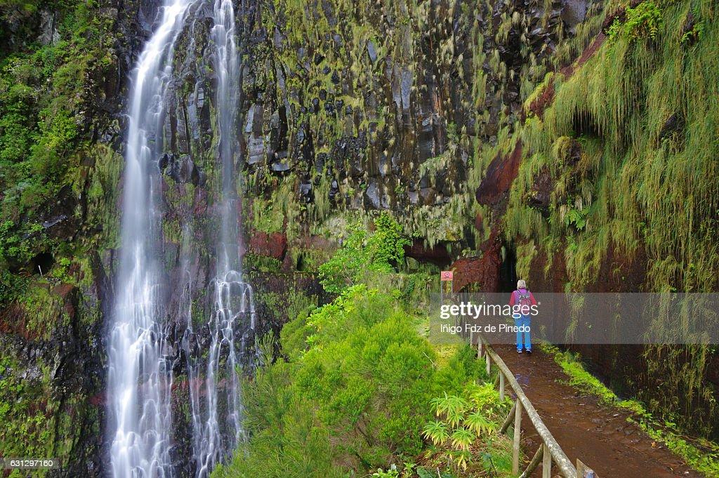 Levada pathway-Woman in Risco waterfall -Madeira island- Portugal : Stock Photo