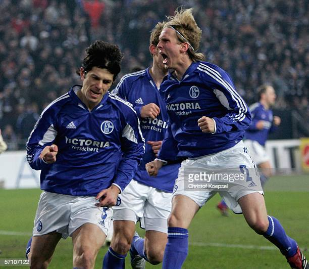 Levan Kobiashvili of Schalke celebrates his first goal witrh Soeren Larsen by a penalty during the UEFA Cup Round of 16 second leg match between...