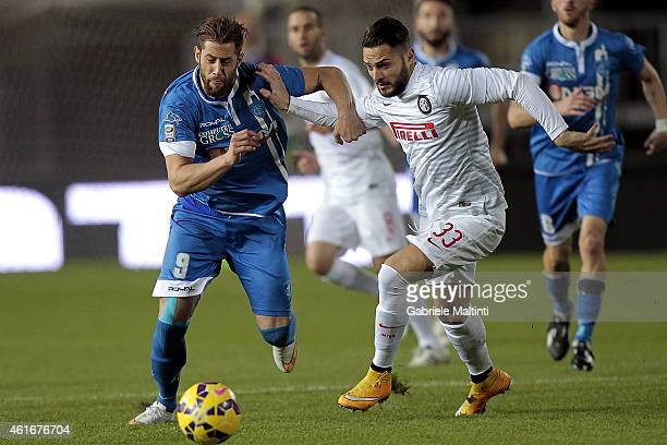 Levan Mchedlidze of Empoli FC battles for the ball with Danilo D'ambrosio of FC Internazionale during the Serie A match between Empoli FC and FC...