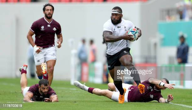 Levani Botia of Fiji runs with the ball during the Rugby World Cup 2019 Group D game between Georgia and Fiji at Hanazono Rugby Stadium on October...