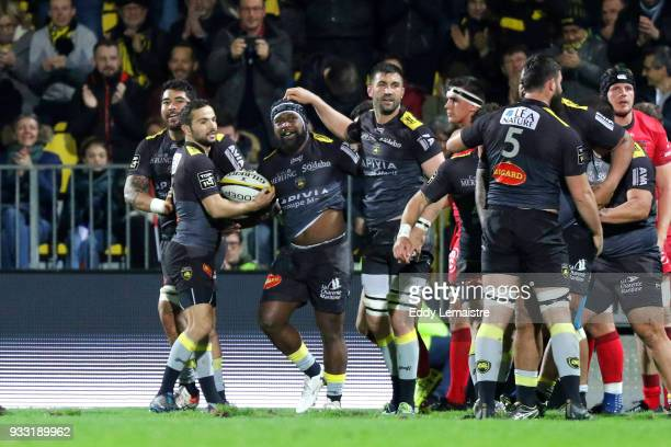 Levani Botia of La Rochelle celebrates after scoring a try during the Top 14 match between La Rochelle and Lyon at Stade Marcel Deflandre on March 17...