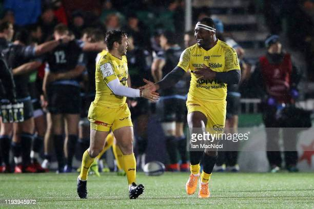 Levani Botia of La Rochelle celebrates scoring his sides second try during the Heineken Champions Cup Round 4 match between Glasgow Warriors and La...