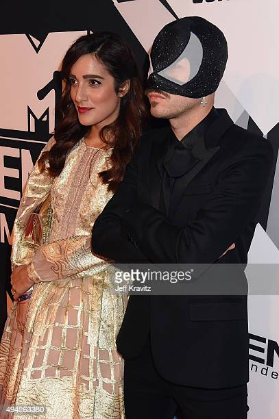 Levante and The Bloody Beetroots attend the MTV EMA's 2015 at Mediolanum Forum on October 25 2015 in Milan Italy