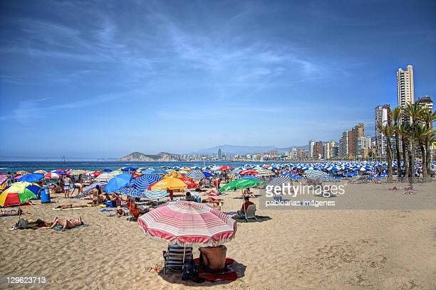 levante beach in benidorm - valencia spain stock pictures, royalty-free photos & images