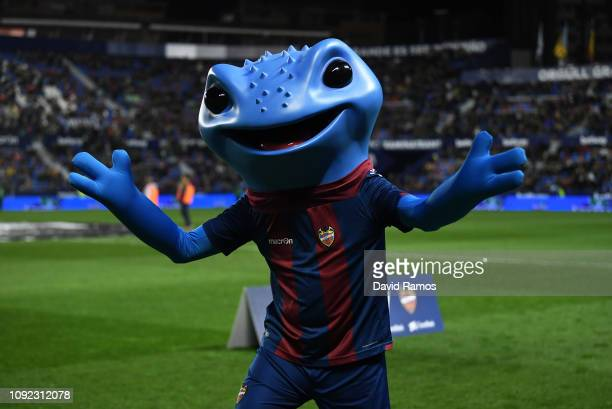 Levante mascot Blau waves prior to the Copa del Rey Round of 16 match between Levante and FC Barcelona at Ciutat de Valencia on January 10 2019 in...