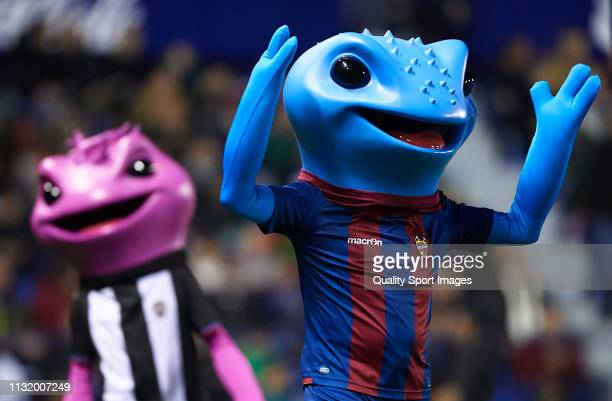 Levante mascots perform during the La Liga match between Levante UD and Real Madrid CF at Ciutat de Valencia on February 24 2019 in Valencia Spain