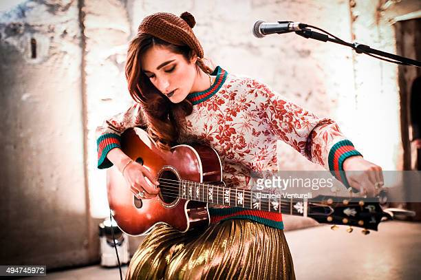 Levante performs during Muse The Travel Issue Dinner at Segheria Di Carlo E Camilla on October 28 2015 in Milan Italy