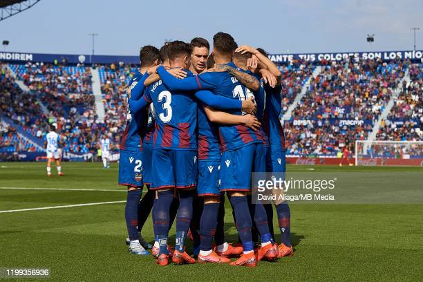 Levante UD celebrates a goal during the Liga match between Levante UD and CD Leganes at Ciutat de Valencia on February 8, 2020 in Valencia, Spain.