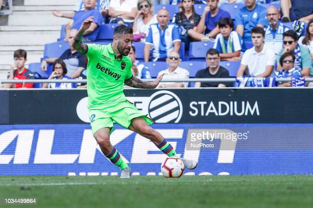 Levante UD defender Antonio Luna during the match RCD Espanyol against Levante UD for the round 4 of the Liga Santander played at RCD Espanyol...