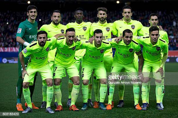 Levante UD line up prior to start the La Liga match between Club Atletico de Madrid and Levante UD at Vicente Calderon Stadium on January 2 2016 in...