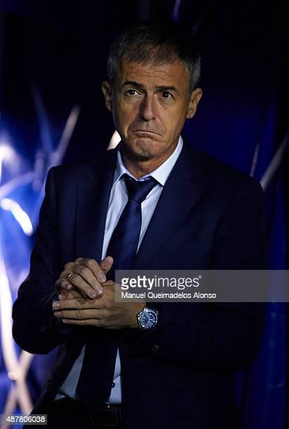 Levante UD manager Lucas Alcaraz looks on prior to the La Liga match between Levante UD and Sevilla FC at Ciutat de Valencia Stadium on September 11...
