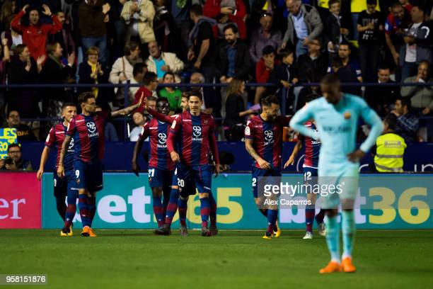 Levante UD players celebrate after scoring a goal during the La Liga match between Levante UD and FC Barcelona at Estadi Ciutat de Valencia on May 13...