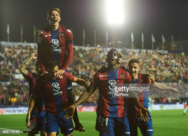 Levante UD players celebrates a goal during the La Liga match between Levante and FC Barcelona at Ciutat de Valencia Stadium on may 13 2018