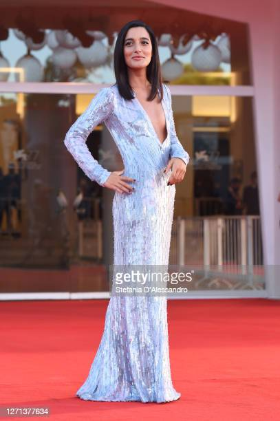 """Levante walks the red carpet ahead of the movie """"Notturno"""" at the 77th Venice Film Festival on September 08, 2020 in Venice, Italy."""