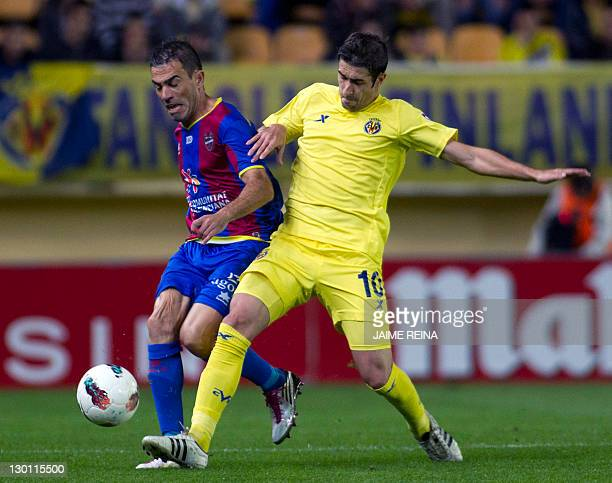 Levante's defender Javier Rodriguez Venta vies with Villarreal's midfielder Cani during the Spanish league football match Villarreall against Levante...