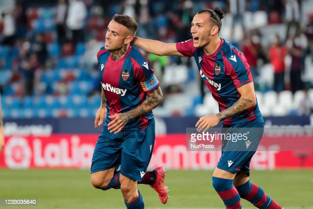 Levante's forward Roger Marti celebrate after scoring the 1-0 goal with his teammate Francisco Javier Hidalgo, Son of Levante UD during spanish La...