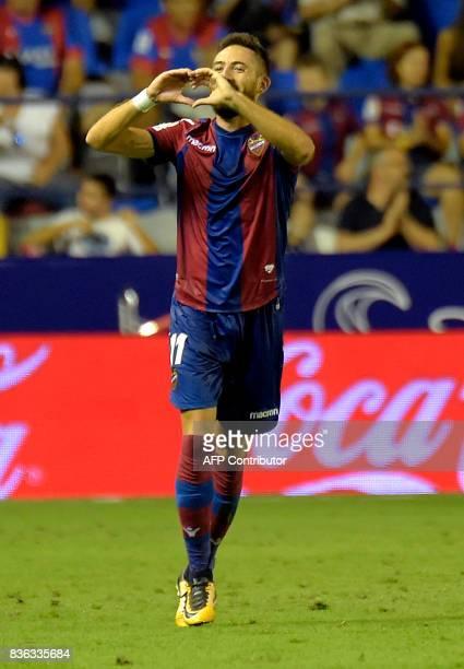 Levante's midfielder Jose Luis Morales celebrates after scoring during the Spanish league footbal match Levante UD vs Villarreal CF at the Ciutat de...