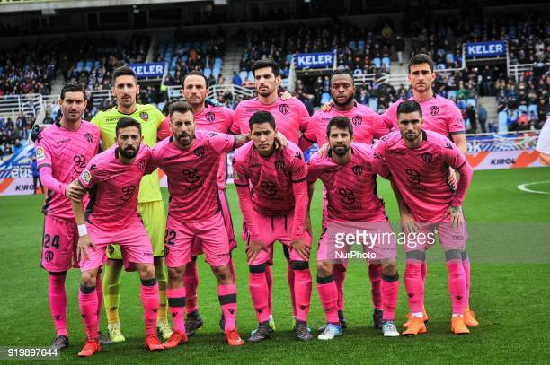 Levante´s teammate pose for the media before the Spanish league football match between Real Sociedad and Levante at the Anoeta Stadium on 18 February...